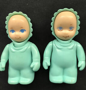 Two (2) Little Tikes Vintage Toy Dollhouse Baby in Green Outfit ~ Boy / Girl