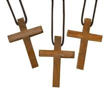 Wooden Latin Cross Pendant on Nylon Cord Chain, Pack of 3,1 3/4 Inch