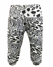 Ladies 3/4 Harem Animal Leopard Print Women Baggy Cropped Trousers Pants Sz 8-16