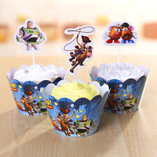 24 PCS TOY STORY CUPCAKE TOPPERS & WRAPPERS/ PARTY SUPPLIES