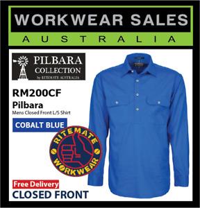 PILBARA Ritemate Men's & Kids Closed Front, L/S Work Shirt RM200CF Cobalt Blue