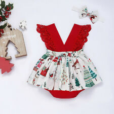 Toddler Baby Kids Girls Christmas Cartoon Print Romper Backless Dress Outfits