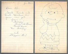 CHARLES SCHULZ - Rare 1967 letter ALS with beautiful drawing of Charlie Brown -