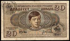"""Jugoslavia/YUGOSLAVIA 20 Dinara 1936 (1941) Pick r11 (3) """"Montenegro"""""""