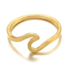 Gold Wave Midi Ring Size 7
