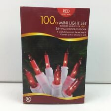Holiday Time 100 Mini Red Christmas Lights White Wire Light Set 24 Ft.