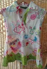 Oilily Girls Dress 4-5 Birds Hearts Cherries Flower Appliqué Grass Maps Rabbits
