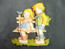 Vintage plastic Homco boy and girl on fence wall hanging home decoration decor