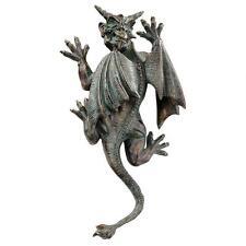 Gothic Menacing Horned Demon Gargoyle Wall Sculpture Medieval Statue