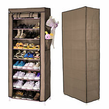 Dustproof 10 Tier Shoes Cabinet Storage Rack Large Capacity Holds 27 Pairs
