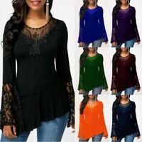 Women Casual Long Sleeve Lace T Shirt Crew Neck Basic Loose Blouse Tunic