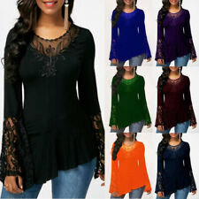 Women Casual Long Sleeve Lace T Shirt Crew Neck Basic Loose Blouse Tunic