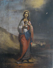 EARLY EASTERN EUROPEAN  ICON  of SAINT BARBARA  HAND PAINTED