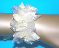 Armband Armschmuck Hochzeit crem Blumen Glitzer Handgelenk Bänder Neu