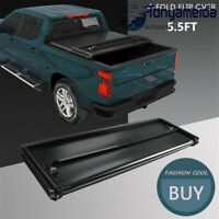 Soft Truck Bed Tonneau Cover 4-Fold 5.5FT For Ford 2015-2020 F150 W/ LED Light