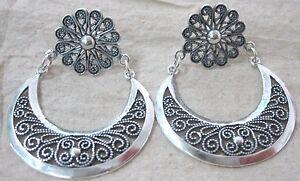 NEW - 92.5% Sterling Silver Oxidised Filigree Half Moon Dangling TRIBAL Earrings