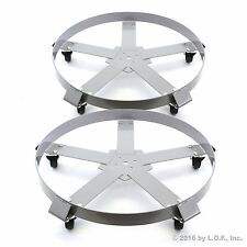 2 Drum Dolly 55 Gal 5 Wheel Swivel Casters Heavy Steel Frame Easy Roll 1250 lbs
