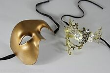 His & Hers Couple's Gold Masquerade Mask Set WEDDING FROMAL PROM PP011,K2007GD