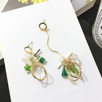 Geometric Crystal Asymmetry Women Dangle Earrings Tassel Stud Earrings Jewelry