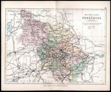 Hand Coloured Railways Yorkshire East Riding Antique County Map Moule C1840 Easy To Use