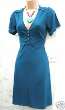 SIZE 12 VINTAGE 40s WW2 LINDYHOP STYLE SUMMER TEA DRESS TEAL BLUE # US 8 EU 40
