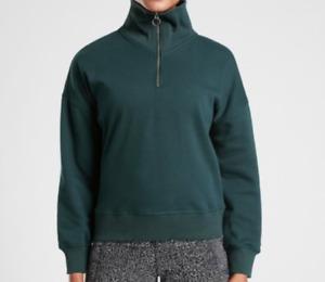 ATHLETA Teal Green Inner Plush 1/4 Zip Cozy Karma Pullover Sweatshirt X-Small