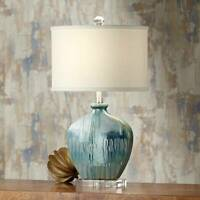 Coastal Table Lamp Ceramic Blue Drip Oval Off White for Living Room Bedroom