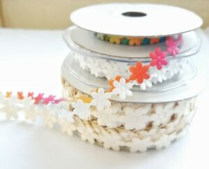 Daisy Flower Ribbon Trim - Decorative Trimming Edging - Floral Craft Supplies