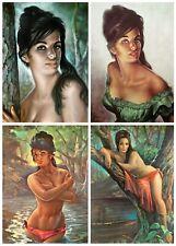 J H Lynch Set of 4 Prints Tretchikoff Era - Tina Nymph Woodland - Size A2