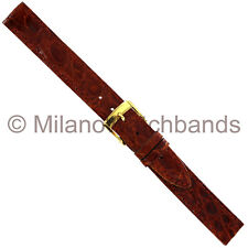 14mm Band-It Ladies Genuine Crocodile Honey Brown Stitched Watch Band