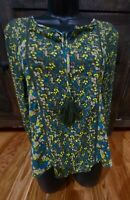 prAna Olive Green Peasant Blouse Floral Print Women's Size Medium Tassels Boho