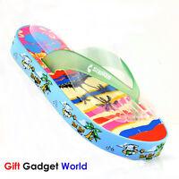 Ladies Flip Flops Toe Post Sandals Flat Beach Womens Shoes 3 4 5 6 7 Hawaii Blue