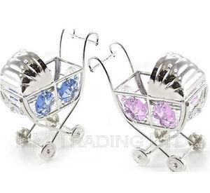 Crystal Blue New Born Baby Boy Pram Silver Plated Ornament Christening Gift Box