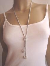 Strass Modekette Damen Hals Kette Modeschmuck lang 2 x Herz Silber Glitzer Edel