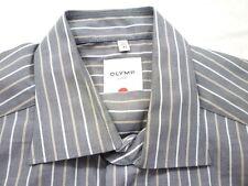 E7938 Olymp Luxor Businesshemd Kombimanschette 41 grau, braun, weiß gestreift
