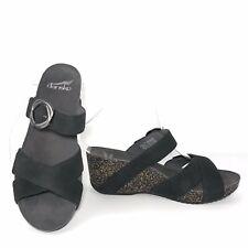 Dansko Susie Slide Sandals 7.5 8 38 Black Milled Nubuck Leather 3420360200 $135