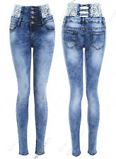 NEW Womens High Waist Skinny Jeans Ladies Lace Detail Stretch Size 6 8 10 12 14