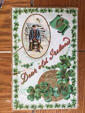"""POSTCARD-- IRELAND--ST. PATRICK'S DAY EMBOSSED """"A QUIET DRAW"""" EARLY 1900's USED"""