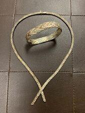 Vintage 925 Sterling Silver Mesh Estate Fresh Necklace!! NR