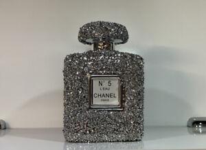 XL SILVER CRUSHED DIAMOND SPARKLY PERFUME BOTTLE ORNAMENT, SHELF SITTER✨