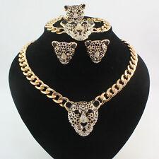 Fashion 18K Gold Plated Crystal Black Enamel Leopard Head Necklace Jewelry set