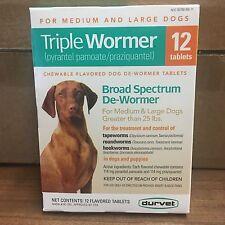 Durvet Triple Wormer for large dogs 12 tablets