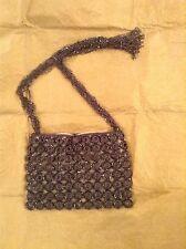 BEAUTIFUL TORBA SLATE GREY CROCHET & BEADED BOHO EVENING BAG.. USED ONCE