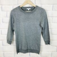 New York And Company Womens Size XS Gray Sweater Sparkle 3/4 Sleeve Glitter Top