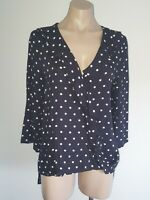 Size 8 SEED Dark Navy/almost black blouse top with white polka dots