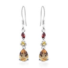 Citrine Yellow Cubic Zircon CZ 925 Sterling Silver Dangle Tear Drop Earrings