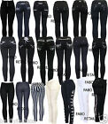 Plus Size New Ladies Black Crown Embroidery Buckle Jeggings Jeans leggings 8-26