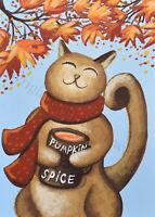 ACEO folk art print PUMPKIN SPICE KITTY cat Autumn Fall scarf leaf funny cute DC