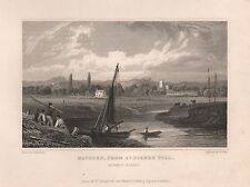 1830 ANTIQUE PRINT-GASTINEAU - WALES-MONMOUTHSHIRE-MATHERN FROM ST PIERRE PILL