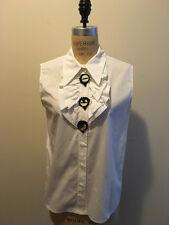 Miu Miu Sz 42 IT White Cotton Blouse Black Beaded/Mirror Buttons